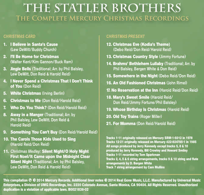 cd back song listing - Believe Christmas Song